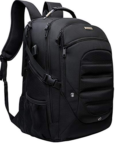 Extra Large Travel Business Laptop Backpack,College School Bookbag Computer Bag for Men Women with USB Charging Port Water-Resistant fit All 18.4 17.3 inch Laptop TSA Friendly (18.4 inches, Black)