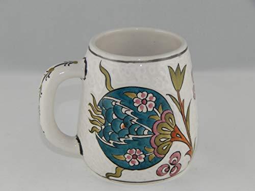 Handmade Turkish Coffee Mug |Traditional Coffee Mug from Iznik, Ethnic Coffee Cup, Flower Mug | Ceramic Coffee Cup Souvenir | Colorful Tulip Design Kitchen Decor | Tile Cup