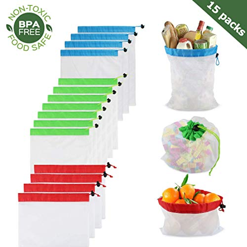 Reusable Produce Bags,15 Pcs See Through Mesh Produce Bags with Drawstring Washable Double-Stitched Strength Grocery Bags for Shopping Fruits Vegetable Toys Eco-Friendly, 3 Sizes