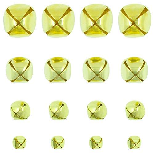 160 PCS Gold Jingle Bells Mini Small Bells Bulk for Festival & Party Decorations DIY Craft, 4 Sizes (10mm, 15mm, 20mm, 25mm)