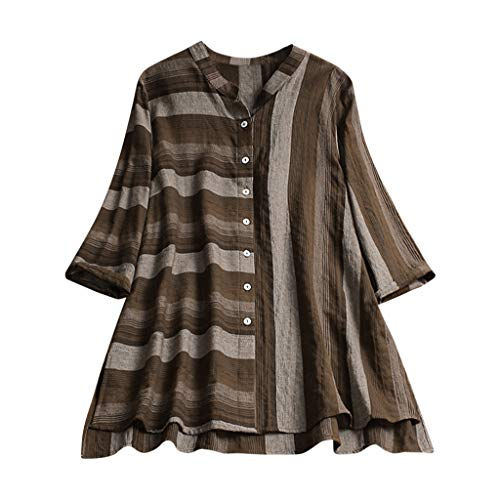 Aniywn Women's Plus Size Vintage Button Up Blouse Long Sleeve Casual Irregular Stripe Cardigan Top T-Shirt Brown