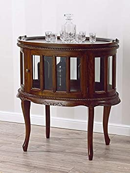 Table Basse Coloniale Ovale Vitrine Bar Casier Porte