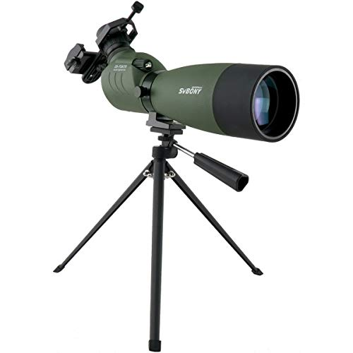 SVBONY SV14 25-75x70mm Spotting Scope with Tripod Bak4 Prism Spotting Scope with Tripod and Phone Adapter for Target Shooting Waterproof FMC Optical Lens