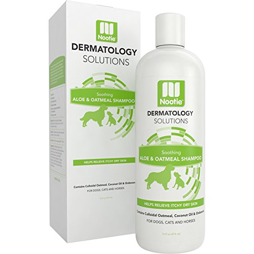 Oatmeal Dog Shampoo with Soothing Aloe by Nootie - Best for All Pets including Dogs, Cats, and Horses - 100% All Natural Deodorizing Soap Free Formula Provides Itchy Skin Relief - 16 Oz.