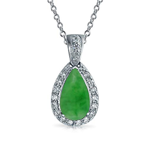 - Bling Jewelry Pave AAA CZ Halo Green Simulated Jade Pear Shaped Teardrop Pendant Necklace for Women Silver Plated