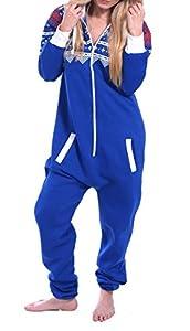 Juicy Trendz Women's Printed Onesie Hoodie Jumpsuit Playsuit All In One Piece