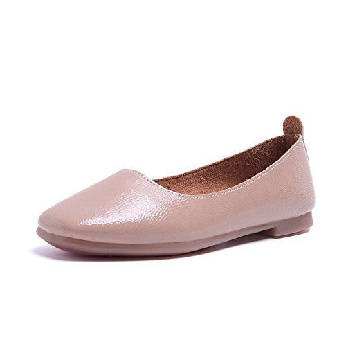 Soft brown Flats Head Light Ballet Shoes Work Comfortable Loafers Slip Bottom Round Walking amp; Shoes On Women's qCYaTn