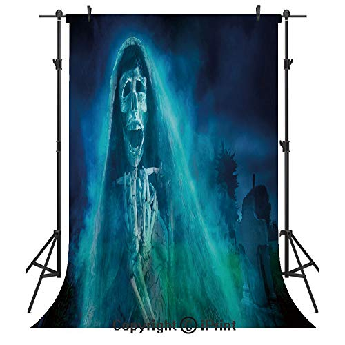 Halloween Decorations Photography Backdrops,Gothic Dark Backdrop with a Dead Ghost Skull Mystical Haunted Horror Theme,Birthday Party Seamless Photo Studio Booth Background Banner 3x5ft,Blue -
