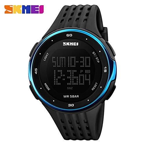 Reloj Digital Hombres, Reloj Deportivo LED a Prueba de Agua, Reloj de Pulsera Multifuncional