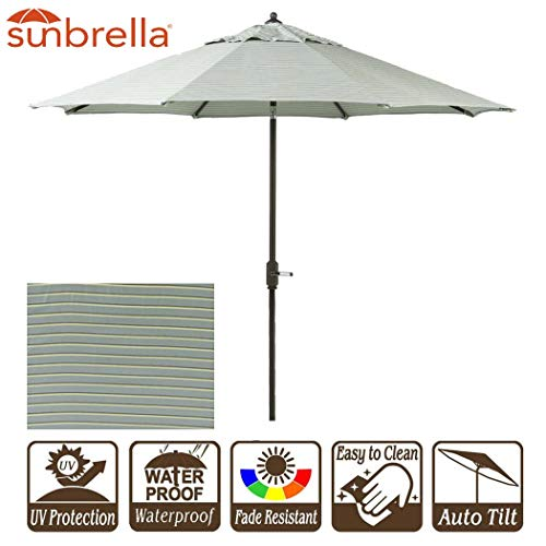 Sunbrella Patio Umbrella 9' Outdoor Umbrella with Crank and Auto Tilt 9 Feet Outdoor Market Table Umbrella Sunbrella Fabric Hardwood Spa Stripe Design (9' Crank & Tilt, Spa Stripe)