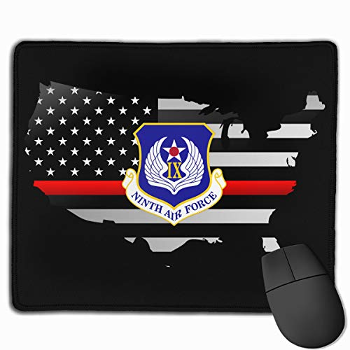 US Ninth Air Force Decal Sticker Thin Red Line Flag Mouse Pads Non-Slip Gaming Mouse Pad Mousepad for Working,Gaming and Other Entertainment ()