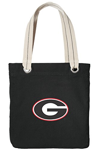 Heavyweight Canvas Log Tote - University of Georgia Tote Bag RICH COTTON CANVAS Georgia Bulldogs Bags Black
