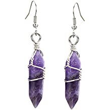 KISSPAT Amethyst Earrings Real Natural Quartz Crystal Gemstone Wire Wrap Jewelry for Women