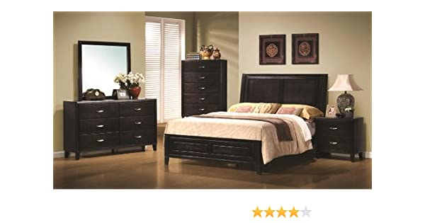 . NACEY QUEEN BEDROOM SET 6 PIECE NATURAL STAINED BLACK FINISH