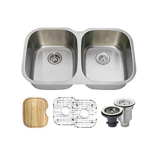 504 18 Gauge Stainless Steel Kitchen Ensemble Bundle – 6 Items Sink, Basket Strainer, Standard Strainer, 2 Sink Grids, and Cutting Board