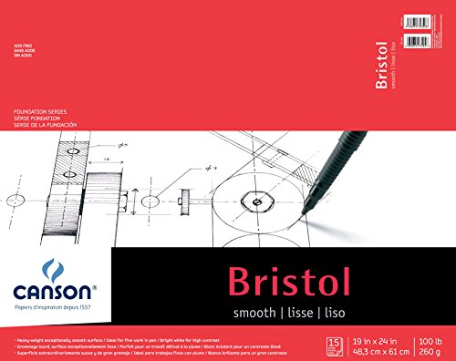 Canson Foundation Series Bristol Paper Pad, Heavyweight Paper for Pen, Smooth Finish, Fold Over, 100 Pound, 19 x 24 Inch, Bright White, 15 Sheets (24 18 Bristol X Board)