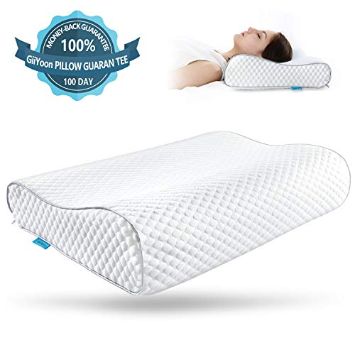 GiiYoon Memory Foam Pillow,Ergonomic Cervical Pillow for Neck Pain, Orthopedic Contour Support Pillows for Sleeping,Size: 23.2x15.4x4.7/3.5 in ()