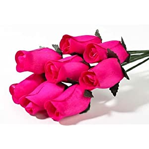 Realistic Bouquet of 8 Wire Stem Bright Fuschia Roses in Cellophane Sleeve - So Realistic It Is Hard to Believe They Are Made From Thin Shaved Wood! 35