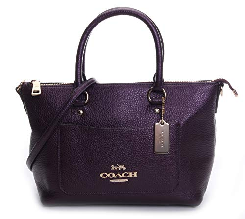 Metallic Satchel Handbag - Coach Women's Metallic Pebble Leather Mini Emma Satchel No Size (Im/Metallic Raspberry)