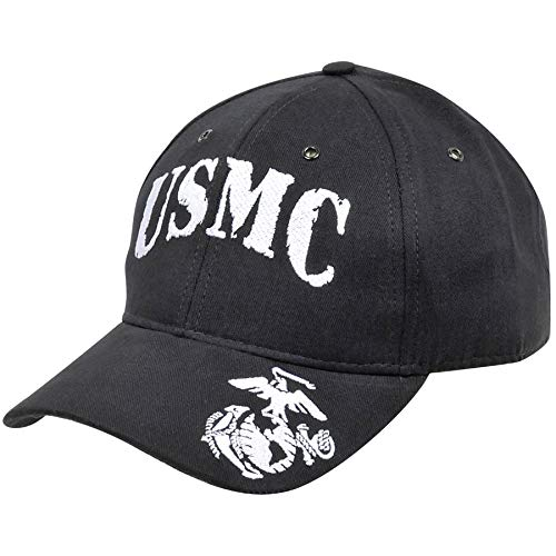 (Medals of America USMC with EGA On Bill Black Hat USA Made One Size)