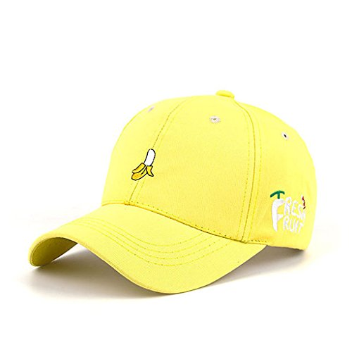HEARTISIAN Creative Fresh Fruit Embroidery Baseball Cap Adjustable Dad Hat Cotton Headwear (Banana) -