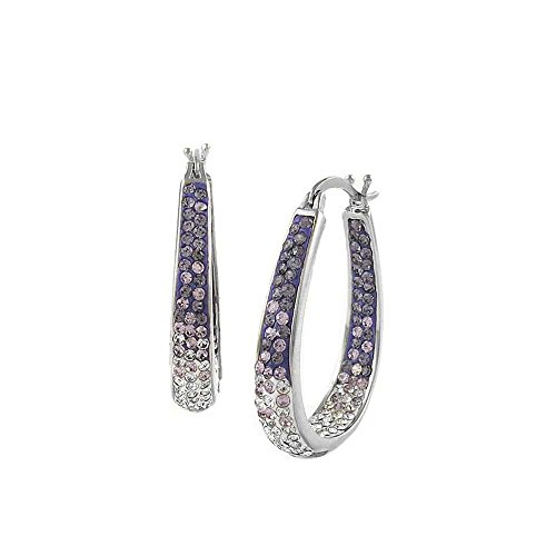 - Silver Plated Austrian Crystal Ombre Style Inside Out Graduated Hoop Earing (Purple)