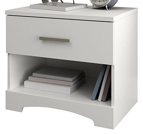 South Shore Gramercy 1-Drawer Nightstand, Pure White with Metal Handle by South Shore