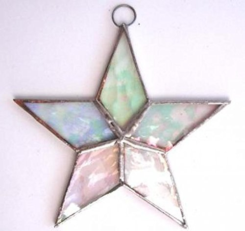 Lot of 6 Flat Stars Iridescent Stained Glass Christmas Ornament Sun Catcher Clear