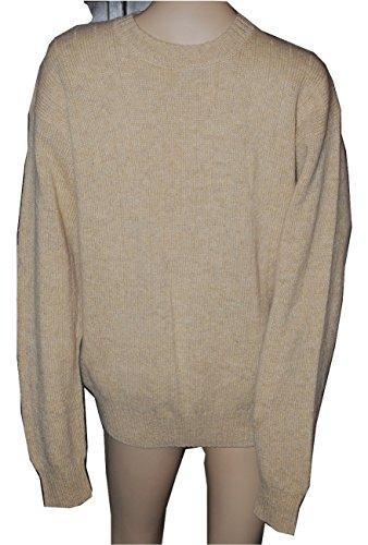 Victoria Men's Shetland Wool Crew Neck Sweater Sandstone Medium