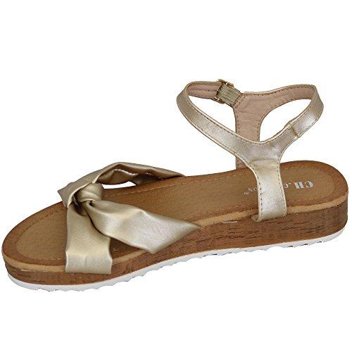 Zehenbereich Creation Schleife H Offener Schuhe CH Sandalen C Keilabsatz S65 Damen Creation Lederoptik Damen Gold Flache Sling R7dHvxd