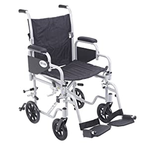 """Drive Medical Poly Fly Light Weight Transport Chair Wheelchair with Swing-Away Footrest, Silver, 18"""""""