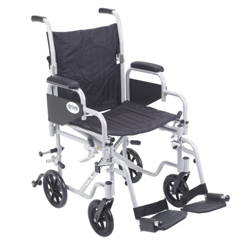 Drive Medical Poly Fly Light Weight Transport Chair Wheelchair with Swing-away Footrest, Silver, 18
