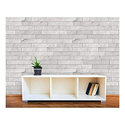 Wall26 - Horizontal Soft Gray Brick Pattern Paneling - Wall Mural, Removable Wallpaper, Home Decor - 66x96 inches
