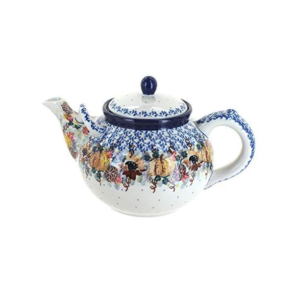 Blue Rose Polish Pottery Harvest Bounty Large Teapot