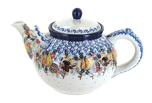 Blue Rose Polish Pottery Harvest Bounty Large Teapot ()