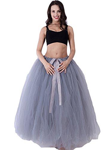 FOLOBE Mujeres Puffy Tutu Tulle Falda 100CM/39.4in gris
