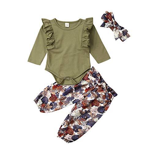 3PCS Outfits Baby Girls Ruffle Romper Bodysuit Tops Denim Jeans High Waist Pants Floral Halen Pants (12-18 Months, Olive Green)