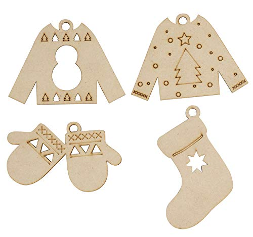 Unfinished Wooden Christmas Ornaments - 24-Pack Paintable Blank Xmas Tree Hanging Wood Slices for Kids DIY Art Crafts, Festive Decoration, 4 Assorted Sweater Designs, 3 x 3.7 to 4.25 x 3 Inches