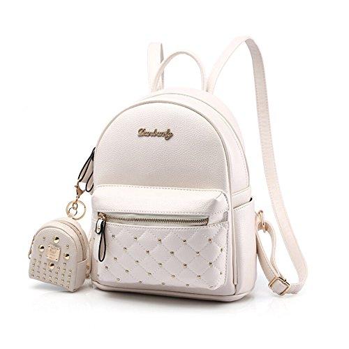 89e13528223e39 Cute Small Backpack Mini Purse Casual Daypacks Leather for Teen and Women  White