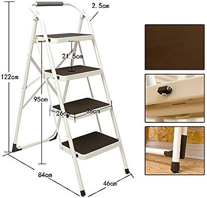 GBX Escalera Plegable, Plancha para Adultos 4 Escalera Plegable Taburete con Apoyabrazos Y Antideslizante Del Pedal Silla de Tijera Escalera Portátil/Soporte Reposapiés/Almacenamiento/Flor Sopo: Amazon.es: Bricolaje y herramientas