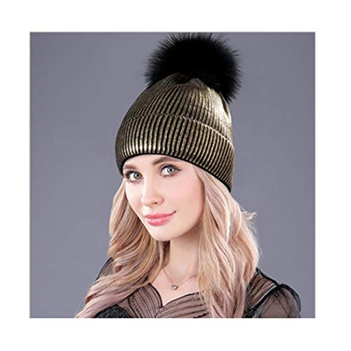 Hats for Women and Men Warm Knit Fur Bobble Pom Pom Hat (Gold) ()