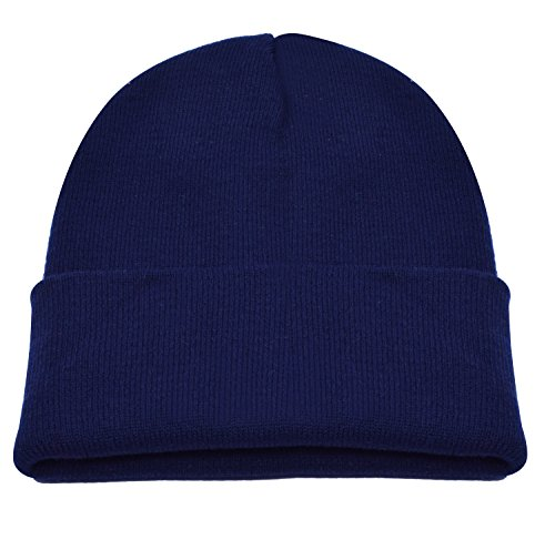 PZLE Hat Winter Navy Blue Beanie Man Beanie Hat Soft Knit Hat Dark Navy