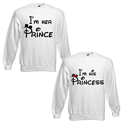 Fidanzati Bianche Di Felpe Her Donna His Regalo Uomo Idea Princess Coppia Prince I'm Y7cTp67