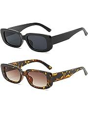 ASHOWIN lentes de sol rectangulares retro para mujeres y hombres lentes de sol cuadradas pequeñas vintage Gafas de protección UV 2paquetes