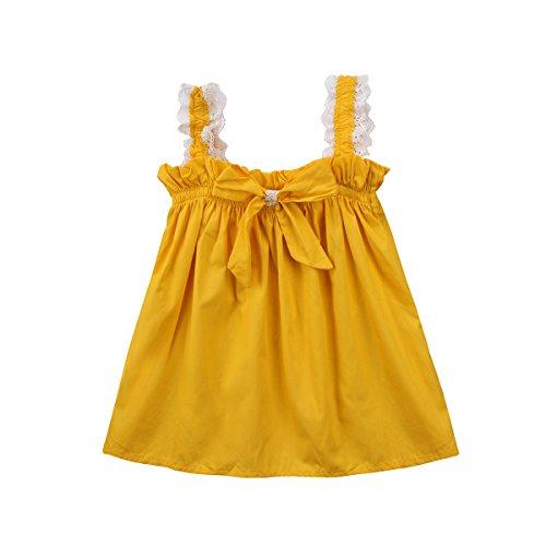 yannzi Toddler Baby Girls Easter Dress Lace Ruffle Sleeve Tutu Skirt Casual Sundress Outfit (90/12-18 Months)