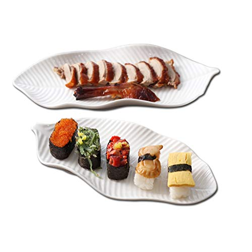 Banana Leaf Porcelain - Banana Leaf Bone Porcelain Plate Hotel Banquet Dim Sum Sushi Display Plate White Set of 2 (Size : 11