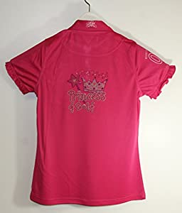 Kissi Couture Big Girls Golf Polo Shirt with Princess Of Golf Bling XL Pink