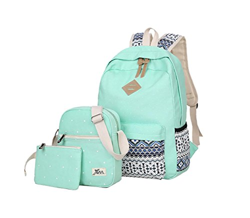 Veenajo Casual Lightweight Cute Dot Canvas Laptop Bag Shoulder Bag School Backpack (Light Green)