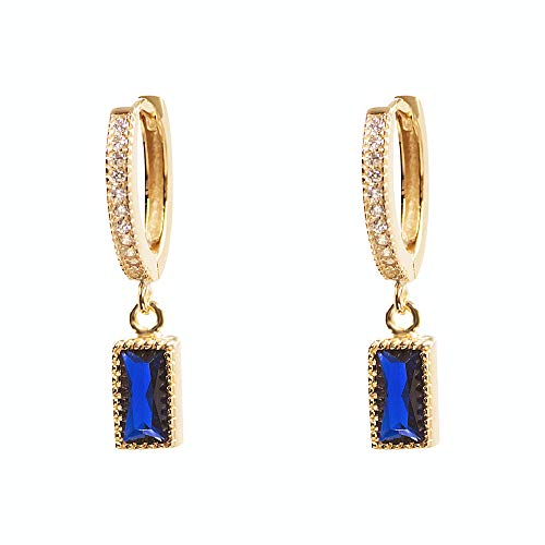 CZ Dangle Hoop Blue Crystal Earrings for Women Girls 925 Sterling Silver Charms Rose Gold Plated Retro Small Rhinestone Rectangular Emerald cut Diamond Drop Round-Shaped Stud Deliate (pair) (Dangling Cut Earrings Sapphire)