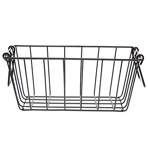 The Lucky Clover Trading Black Rectangular Wire Basket with Swing Handle - Small (Sewing Baskets Wicker)